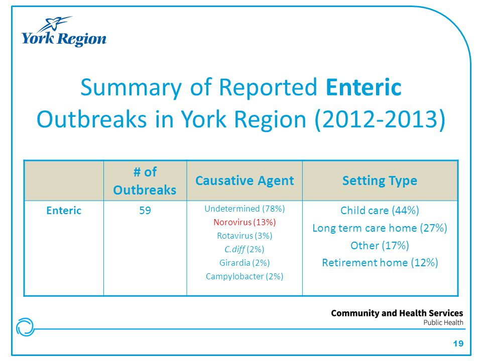 19 Summary of Reported Enteric Outbreaks in York Region (2012-2013) # of Outbreaks Causative AgentSetting Type Enteric59 Undetermined (78%) Norovirus