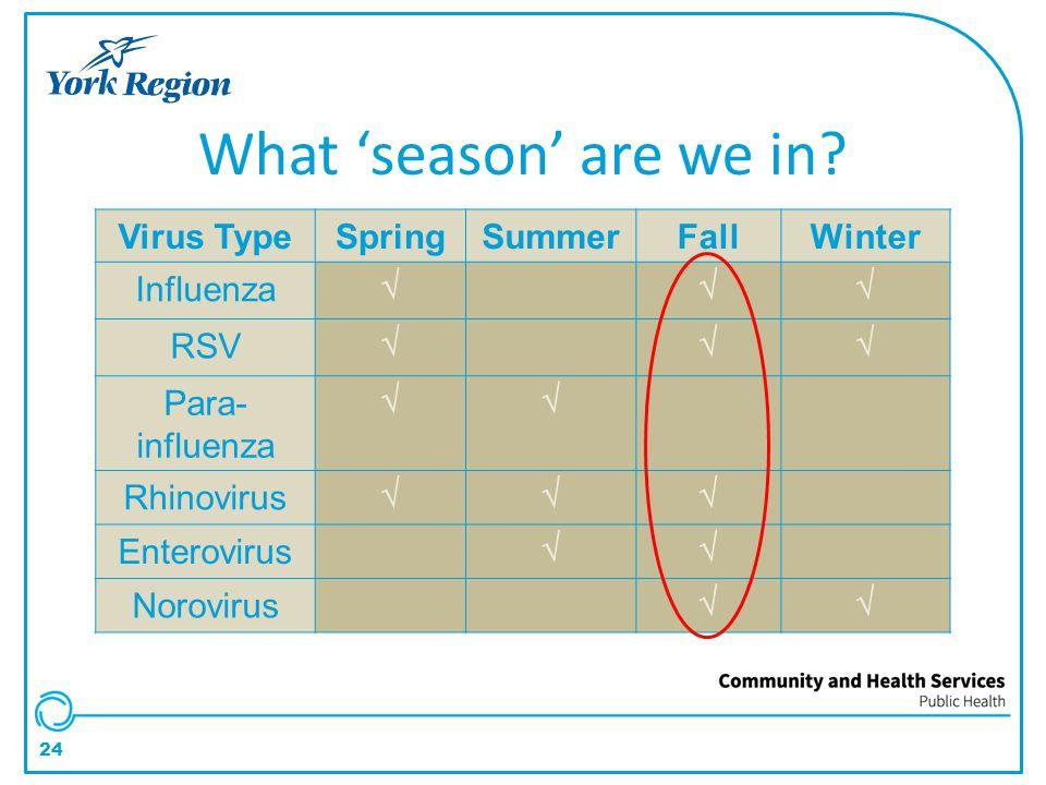 24 Virus TypeSpringSummerFallWinter Influenza √√√ RSV √√√ Para- influenza √√ Rhinovirus √√√ Enterovirus √√ Norovirus √√ What 'season' are we in?