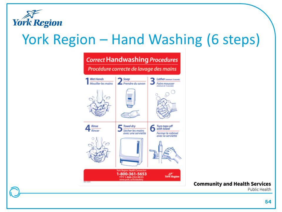 54 York Region – Hand Washing (6 steps)