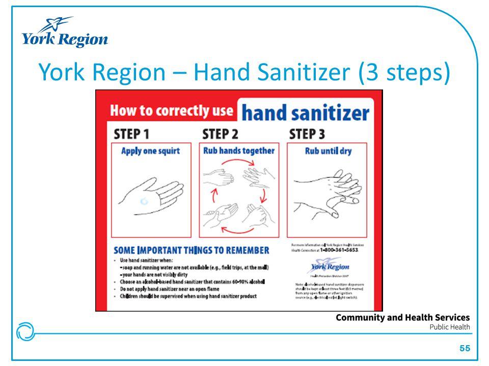 55 York Region – Hand Sanitizer (3 steps)
