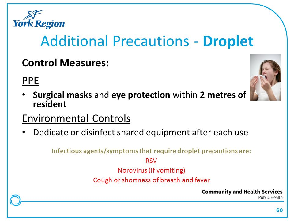 60 Additional Precautions - Droplet Control Measures: PPE Surgical masks and eye protection within 2 metres of resident Environmental Controls Dedicat