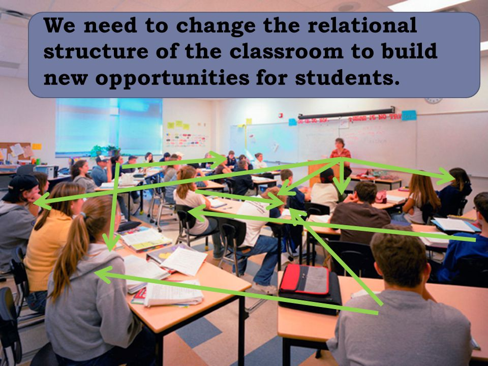 We need to change the relational structure of the classroom to build new opportunities for students.