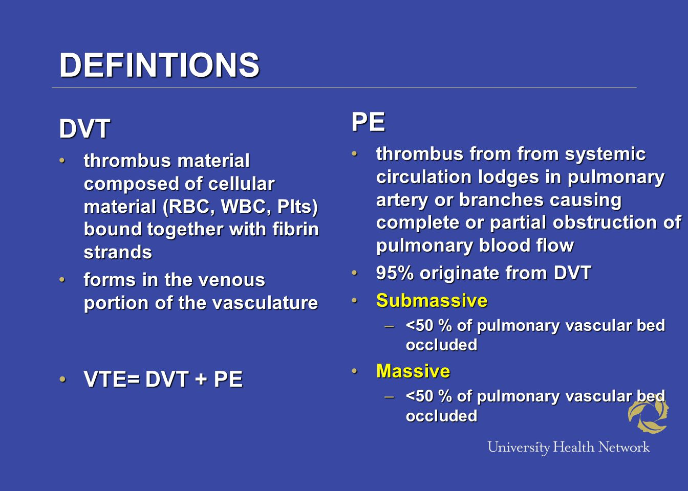 EPIDEMIOLOGY DVT 48 per 100, 00048 per 100, 000 PE 69 per 100, 000 (with our without associated DVT) 69 per 100, 000 (with our without associated DVT) 100, 000 deaths annually due to PE 100, 000 deaths annually due to PE Mortality (30% untreated; 8% with treatment ) Mortality (30% untreated; 8% with treatment )