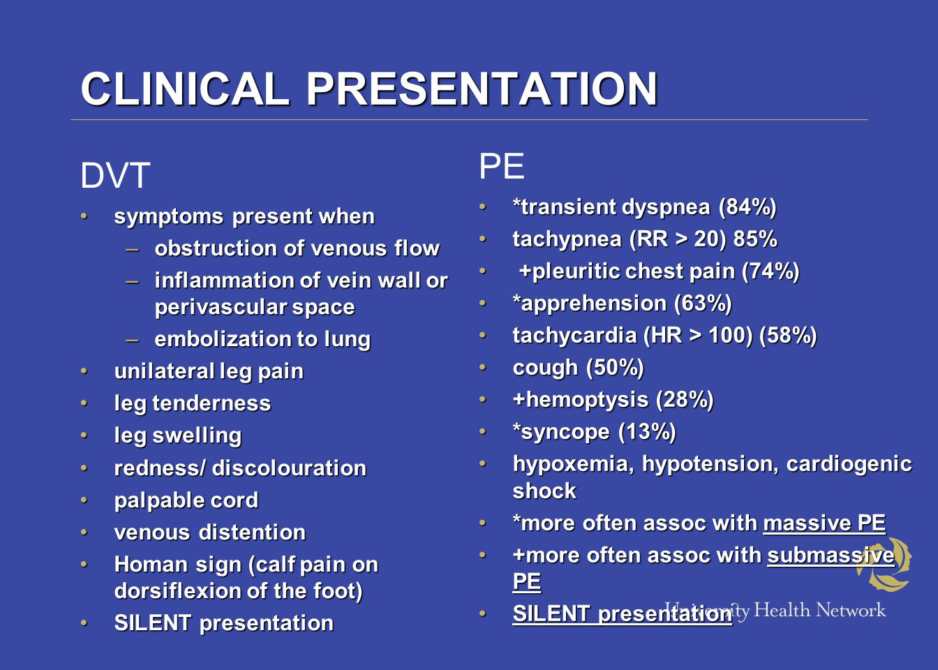 Endpoints: Outcome Assessment VTE endpoints –Venography –Duplex compression ultrasonography –Impedance Plesmography –Fibrinogen Uptake –D-Dimer Testing –PE (lung scanning, angiography, autopsy) Safety endpoints –Major and minor bleeds –Thrombocytopenia Mortality