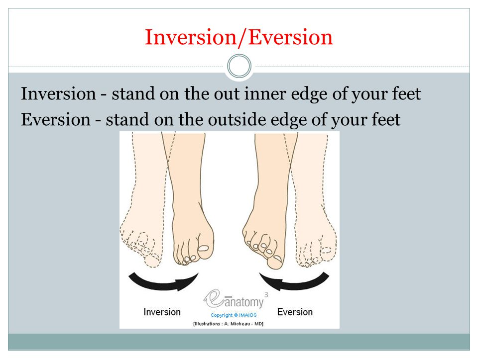 Inversion/Eversion Inversion - stand on the out inner edge of your feet Eversion - stand on the outside edge of your feet