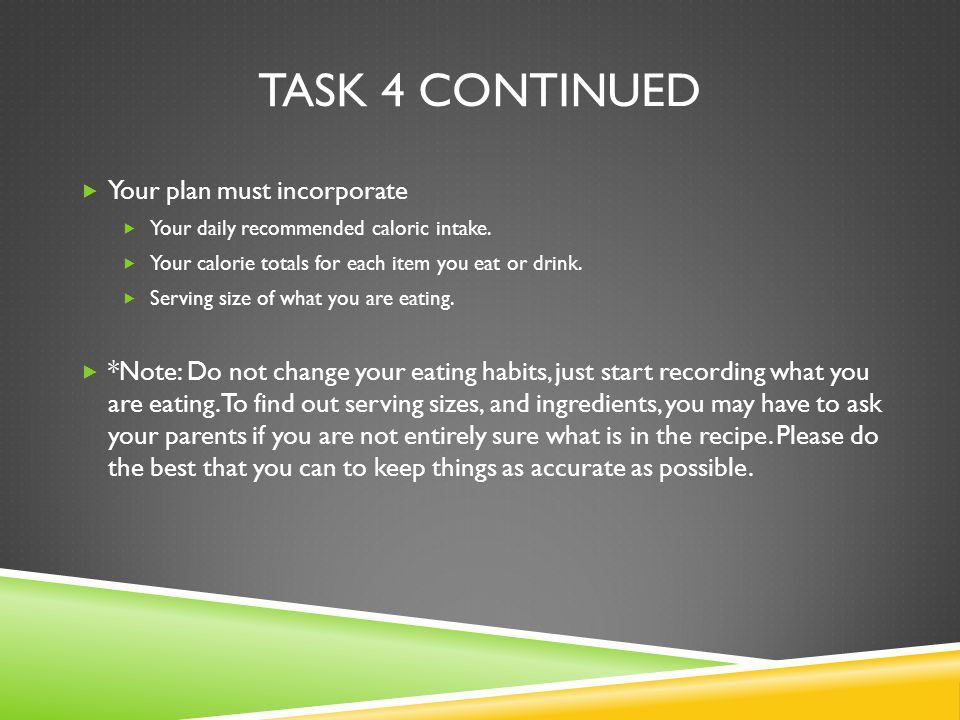 TASK 4 CONTINUED  Your plan must incorporate  Your daily recommended caloric intake.
