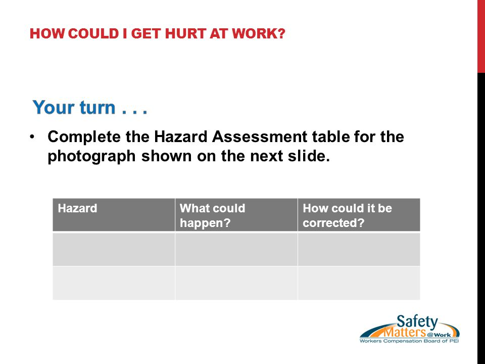 HOW COULD I GET HURT AT WORK? HazardWhat could happen? How could it be corrected?