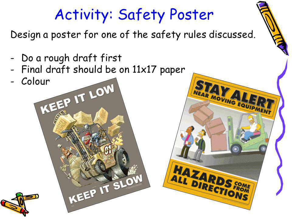 Activity: Safety Poster Design a poster for one of the safety rules discussed.