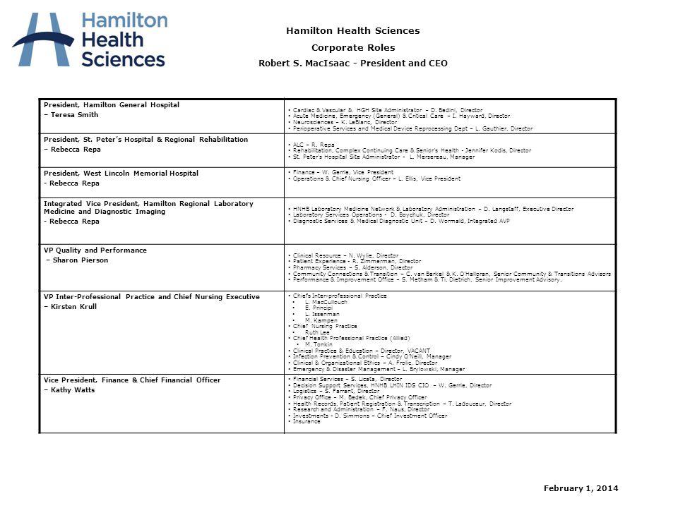 President, Hamilton General Hospital – Teresa Smith  Cardiac & Vascular & HGH Site Administrator – D. Bedini, Director  Acute Medicine, Emergency (G