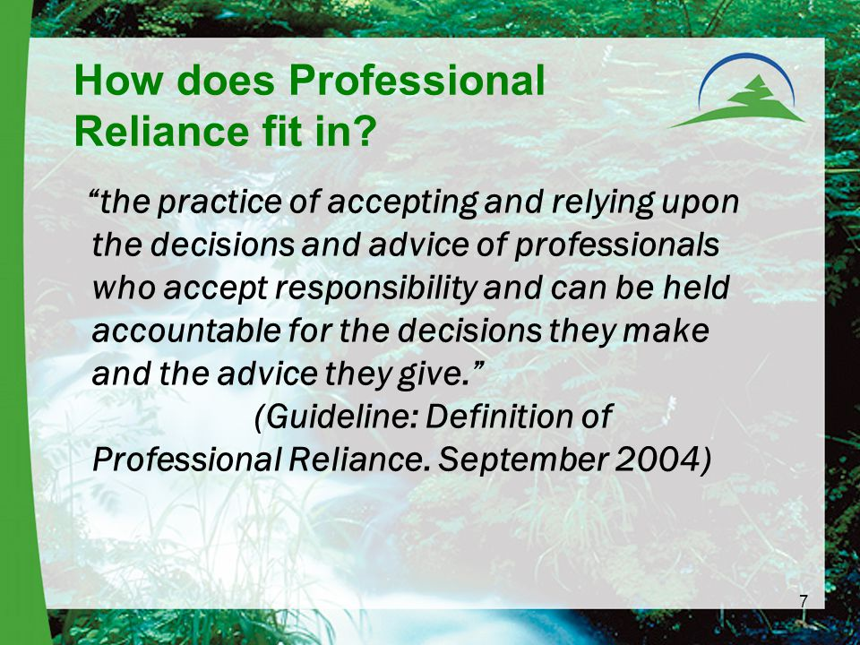 7 How does Professional Reliance fit in.
