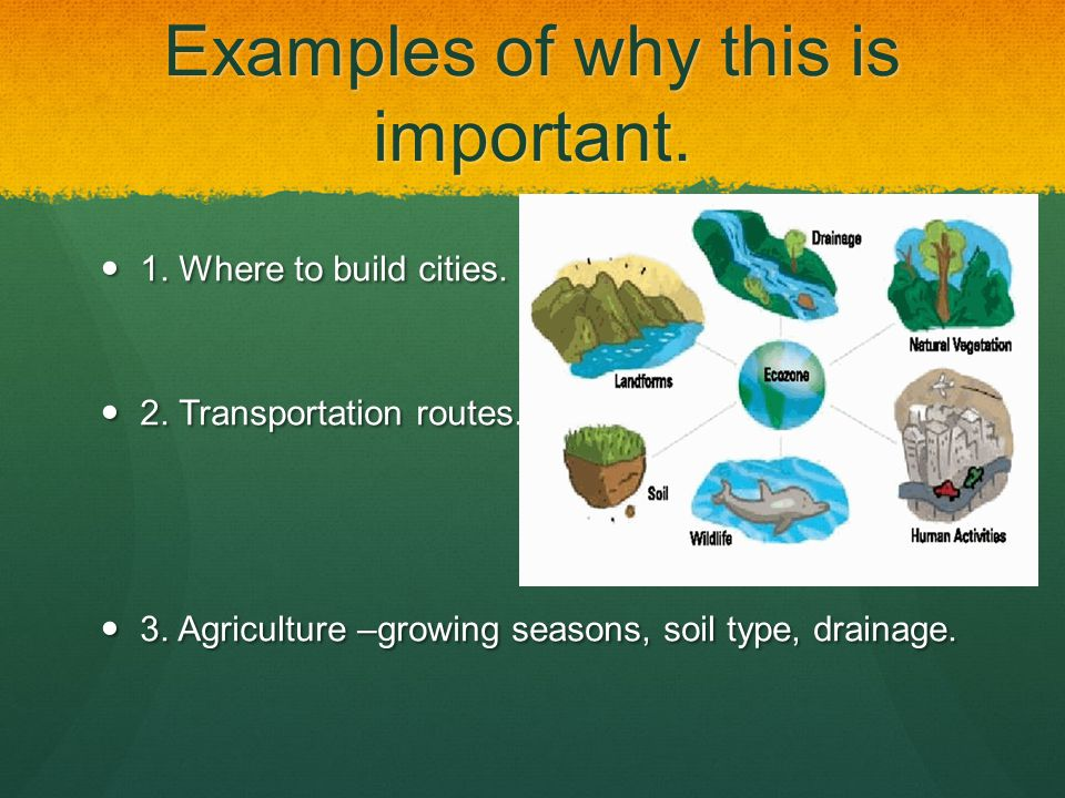 Examples of why this is important. 1. Where to build cities. 1. Where to build cities. 2. Transportation routes. 2. Transportation routes. 3. Agricult