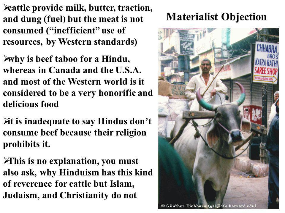 """ cattle provide milk, butter, traction, and dung (fuel) but the meat is not consumed (""""inefficient"""" use of resources, by Western standards)  why is"""