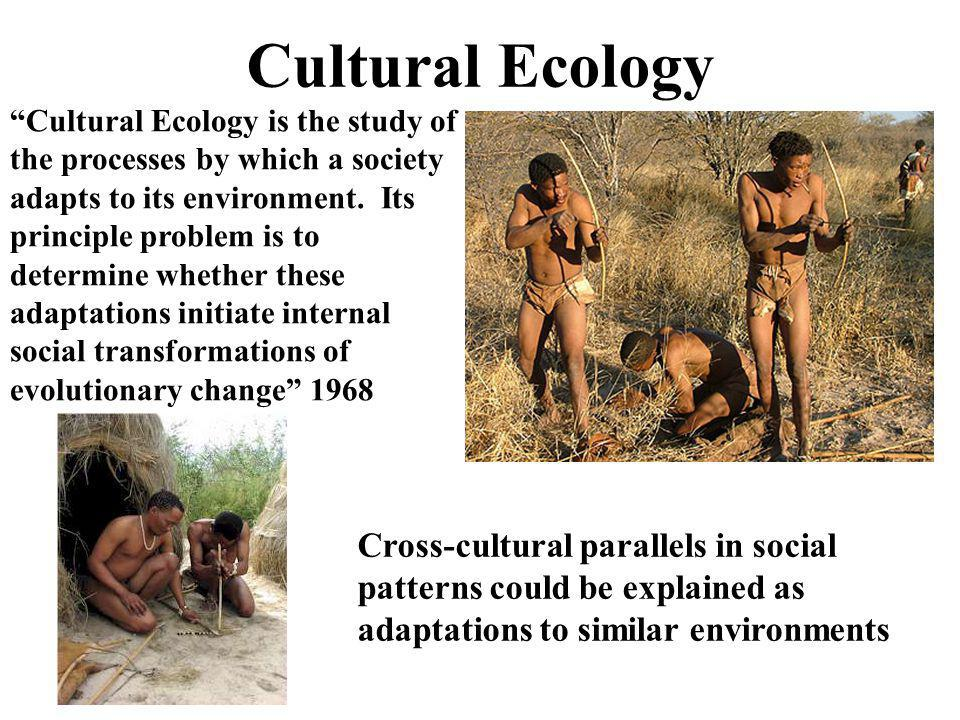 """Cultural Ecology """"Cultural Ecology is the study of the processes by which a society adapts to its environment. Its principle problem is to determine w"""