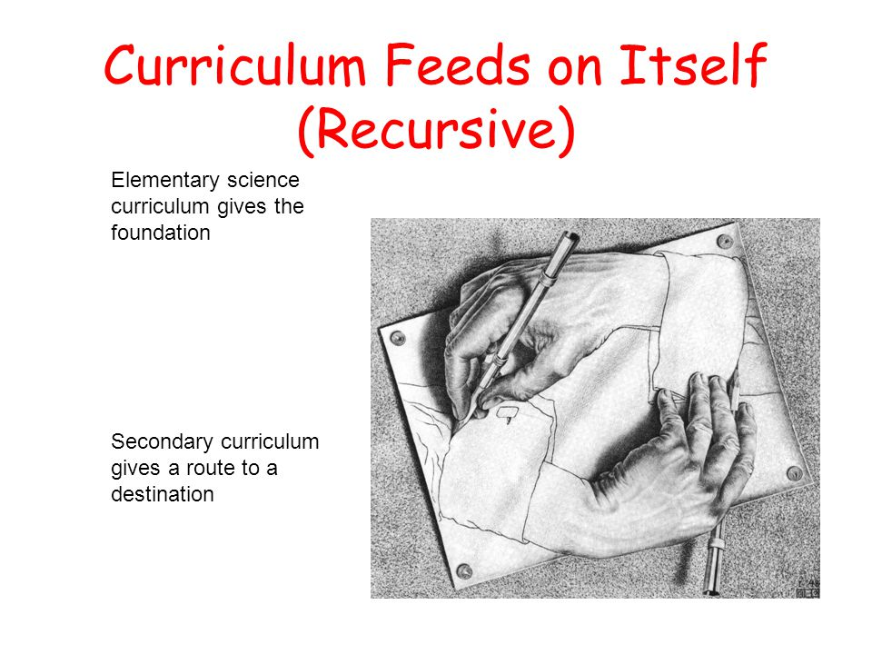 Curriculum Feeds on Itself (Recursive) Elementary science curriculum gives the foundation Secondary curriculum gives a route to a destination