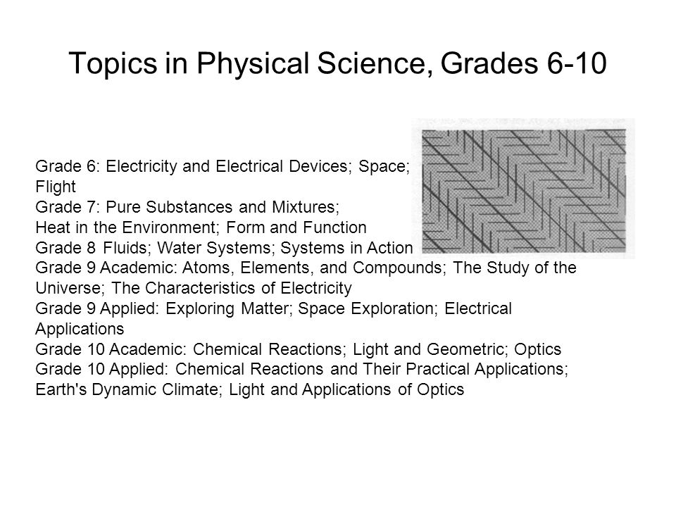 Topics in Physical Science, Grades 6-10 Grade 6: Electricity and Electrical Devices; Space; Flight Grade 7: Pure Substances and Mixtures; Heat in the