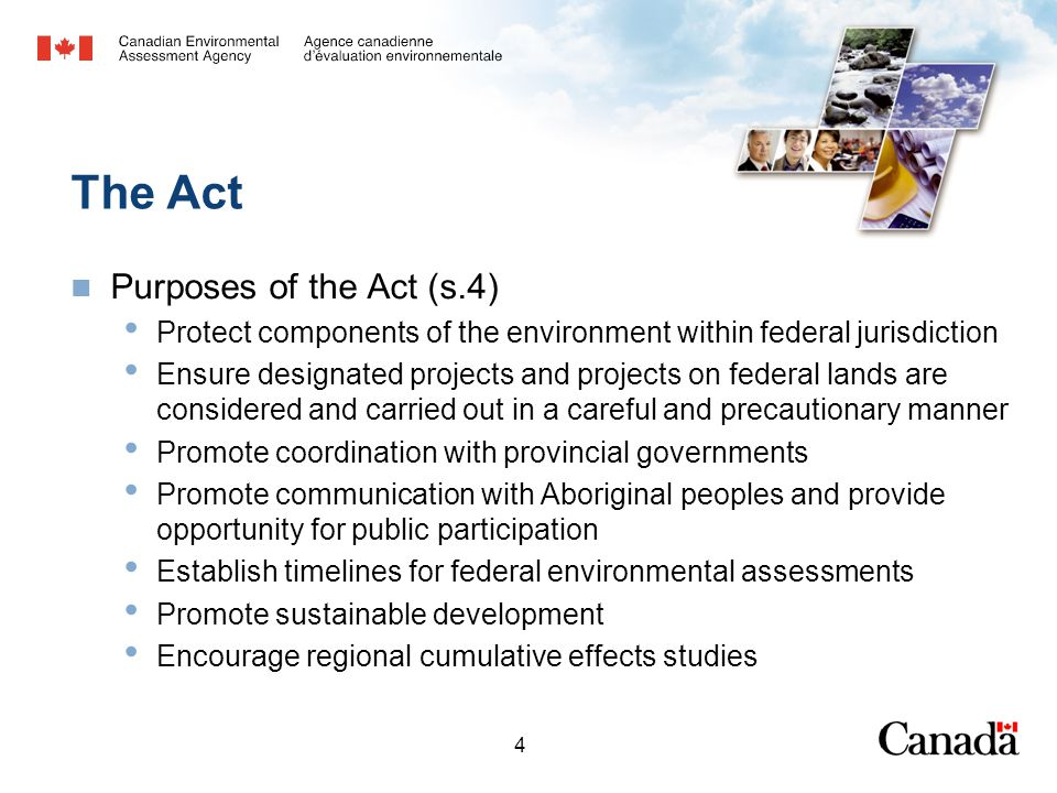 4 The Act Purposes of the Act (s.4) Protect components of the environment within federal jurisdiction Ensure designated projects and projects on feder
