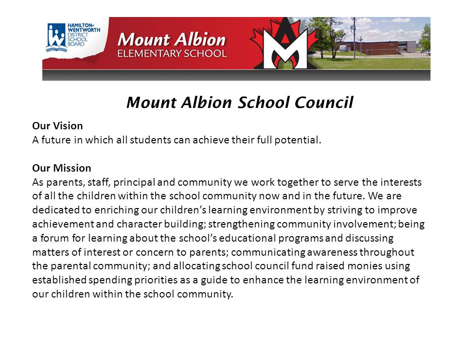 Mount Albion School Council Our Vision A future in which all students can achieve their full potential. Our Mission As parents, staff, principal and c