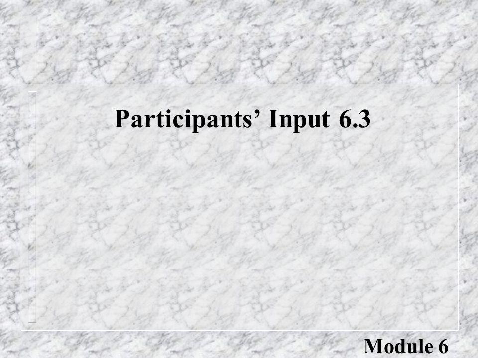 Participants' Input 6.3 Module 6