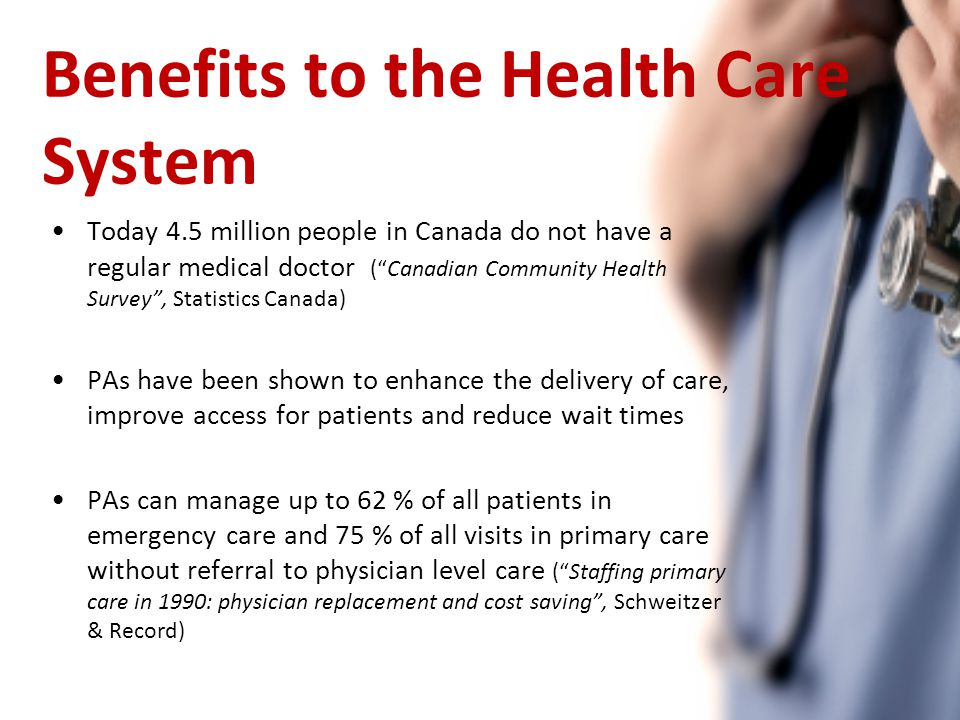 Benefits to the Health Care System Today 4.5 million people in Canada do not have a regular medical doctor ( Canadian Community Health Survey , Statistics Canada) PAs have been shown to enhance the delivery of care, improve access for patients and reduce wait times PAs can manage up to 62 % of all patients in emergency care and 75 % of all visits in primary care without referral to physician level care ( Staffing primary care in 1990: physician replacement and cost saving , Schweitzer & Record)