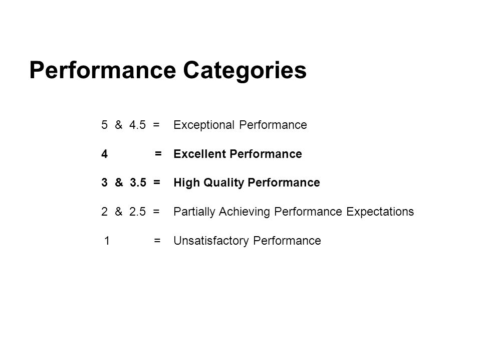 Performance Categories 5 & 4.5 = Exceptional Performance 4 = Excellent Performance 3 & 3.5 = High Quality Performance 2 & 2.5 = Partially Achieving Performance Expectations 1 = Unsatisfactory Performance