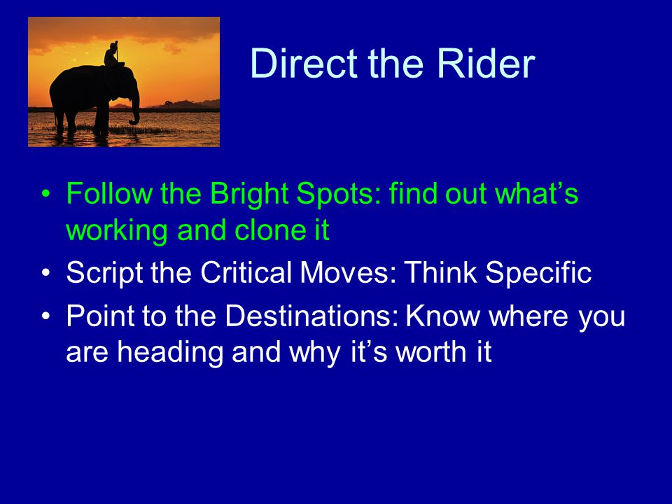 Direct the Rider Follow the Bright Spots: find out what's working and clone it Script the Critical Moves: Think Specific Point to the Destinations: Know where you are heading and why it's worth it