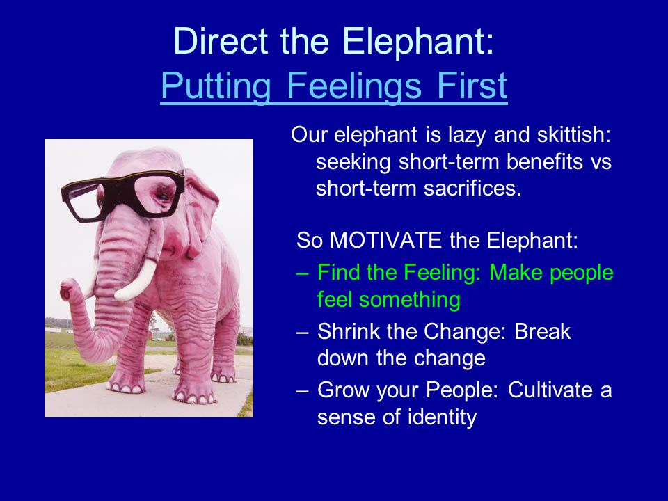 Direct the Elephant: Putting Feelings First Putting Feelings First Our elephant is lazy and skittish: seeking short-term benefits vs short-term sacrifices.