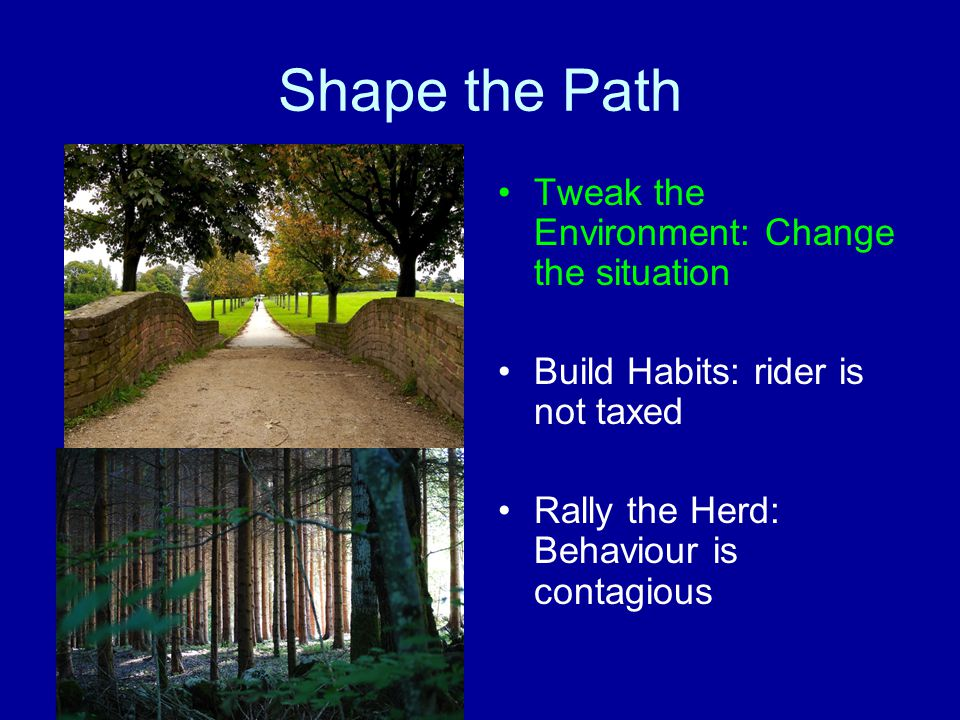 Shape the Path Tweak the Environment: Change the situation Build Habits: rider is not taxed Rally the Herd: Behaviour is contagious