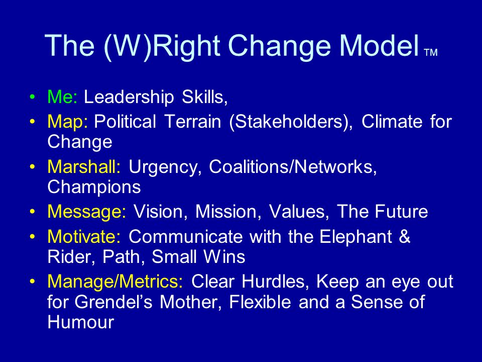 The (W)Right Change Model TM Me: Leadership Skills, Map: Political Terrain (Stakeholders), Climate for Change Marshall: Urgency, Coalitions/Networks, Champions Message: Vision, Mission, Values, The Future Motivate: Communicate with the Elephant & Rider, Path, Small Wins Manage/Metrics: Clear Hurdles, Keep an eye out for Grendel's Mother, Flexible and a Sense of Humour