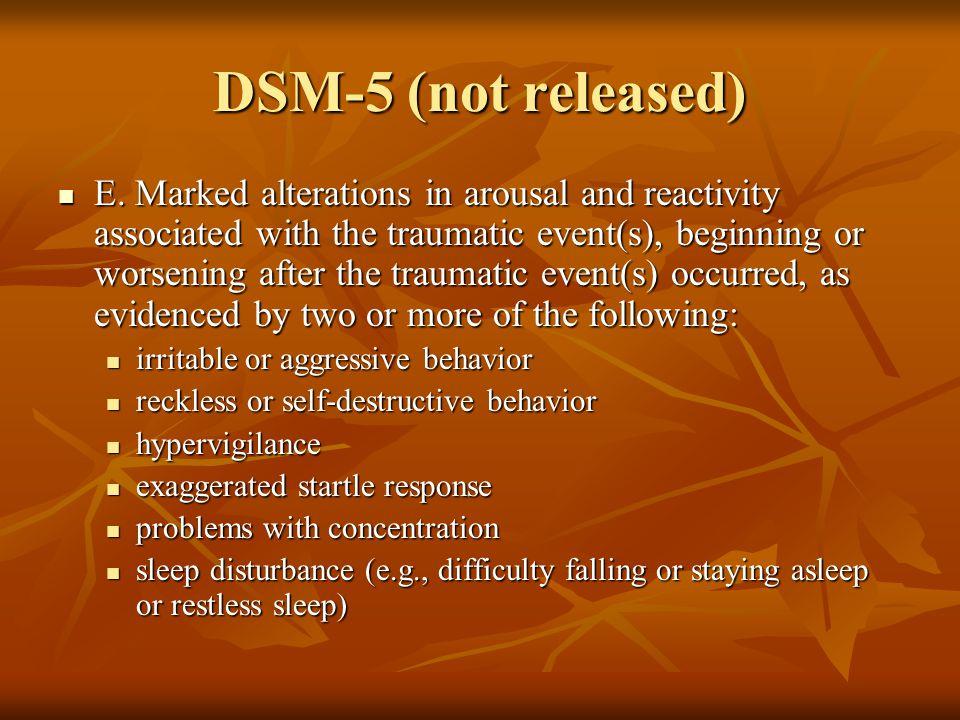 DSM-5 (not released) E.