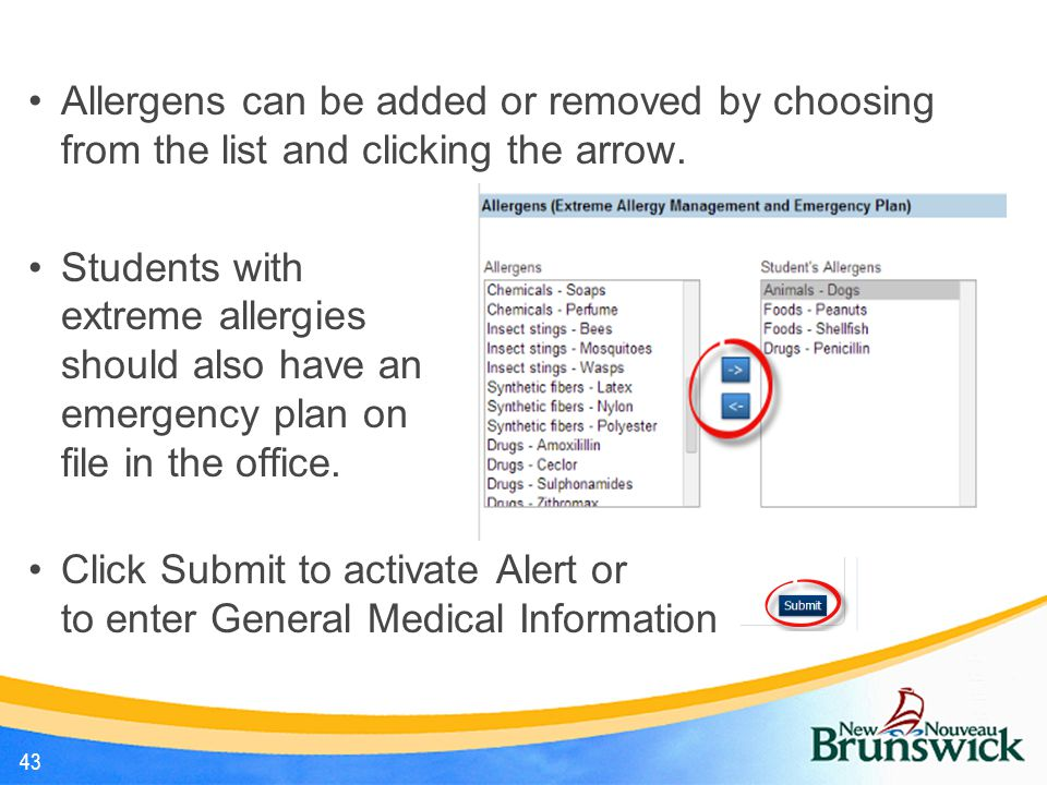 Allergens can be added or removed by choosing from the list and clicking the arrow.