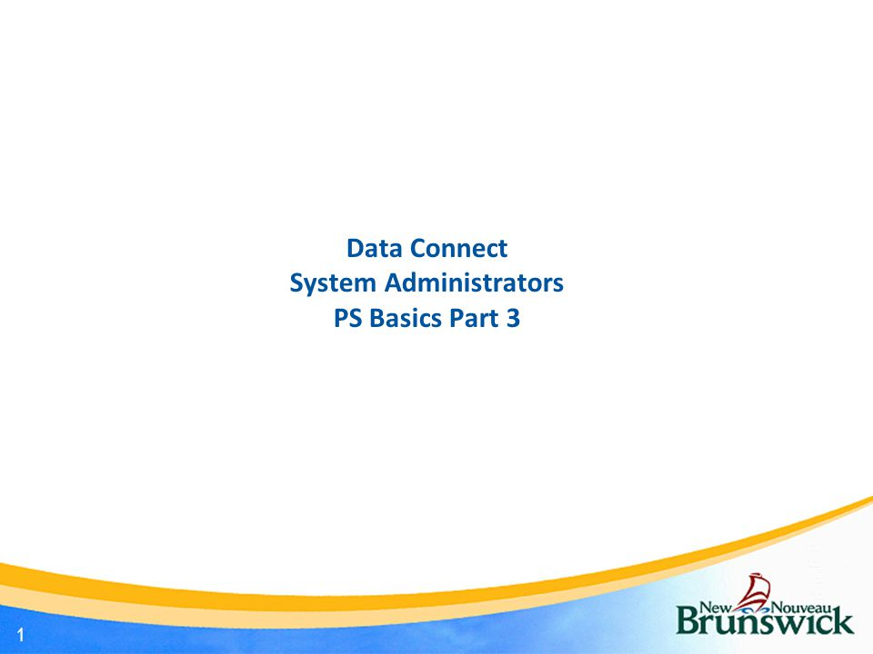 Data Connect System Administrators PS Basics Part 3 1