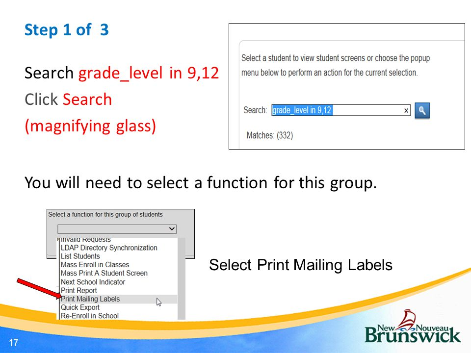 Step 1 of 3 Search grade_level in 9,12 Click Search (magnifying glass) You will need to select a function for this group.