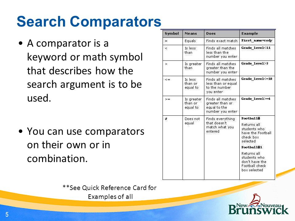 Search Comparators A comparator is a keyword or math symbol that describes how the search argument is to be used.