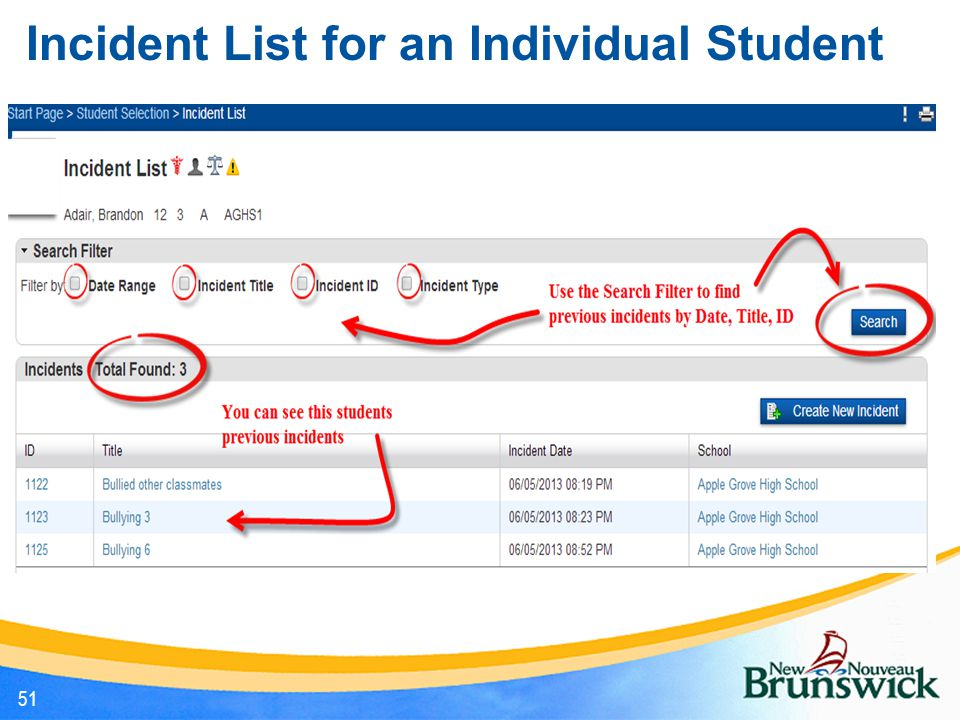 Incident List for an Individual Student 51