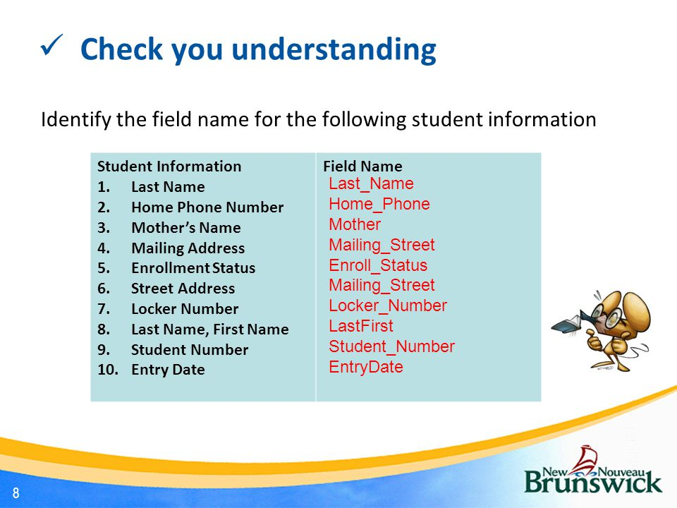 Check you understanding Identify the field name for the following student information Student Information 1.Last Name 2.Home Phone Number 3.Mother's Name 4.Mailing Address 5.Enrollment Status 6.Street Address 7.Locker Number 8.Last Name, First Name 9.Student Number 10.Entry Date Field Name Last_Name Home_Phone Mother Mailing_Street Enroll_Status Mailing_Street Locker_Number LastFirst Student_Number EntryDate 8