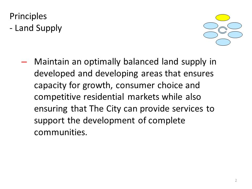 Principles - Land Supply – Maintain an optimally balanced land supply in developed and developing areas that ensures capacity for growth, consumer choice and competitive residential markets while also ensuring that The City can provide services to support the development of complete communities.