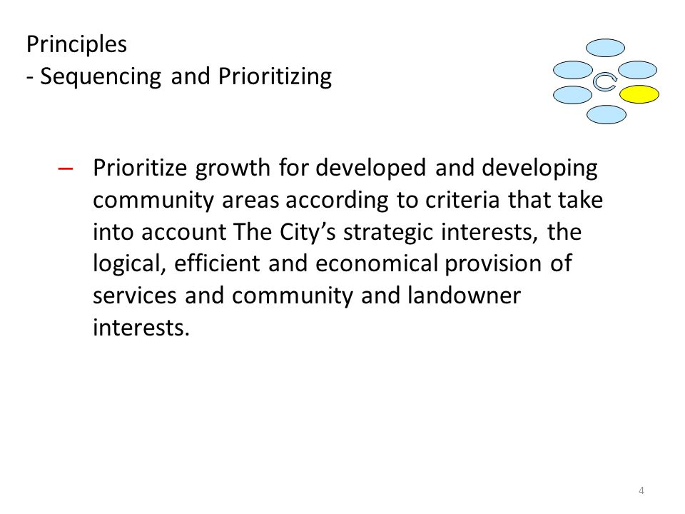 Principles - Sequencing and Prioritizing – Prioritize growth for developed and developing community areas according to criteria that take into account The City's strategic interests, the logical, efficient and economical provision of services and community and landowner interests.