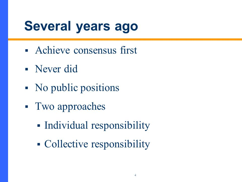 5 Currently  New Policy in 2005  Respond to regulators  Issue public positions  Write op-ed pieces for newspapers