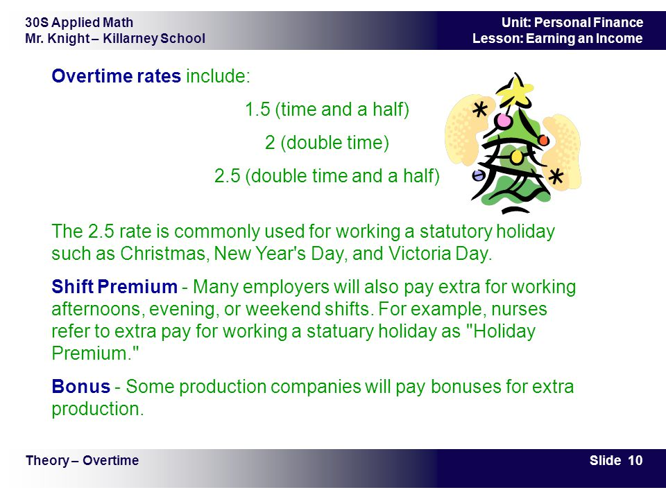 30S Applied Math Mr. Knight – Killarney School Slide 10 Unit: Personal Finance Lesson: Earning an Income Overtime rates include: 1.5 (time and a half)