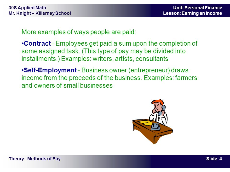 30S Applied Math Mr. Knight – Killarney School Slide 4 Unit: Personal Finance Lesson: Earning an Income More examples of ways people are paid: Contrac