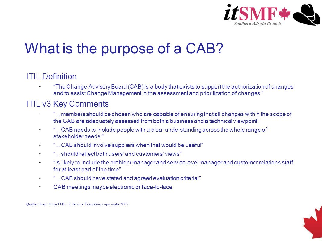 What is the purpose of a CAB.