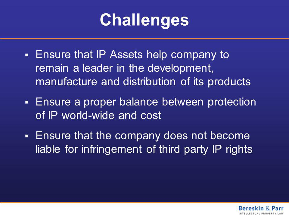Challenges  Ensure that IP Assets help company to remain a leader in the development, manufacture and distribution of its products  Ensure a proper balance between protection of IP world-wide and cost  Ensure that the company does not become liable for infringement of third party IP rights