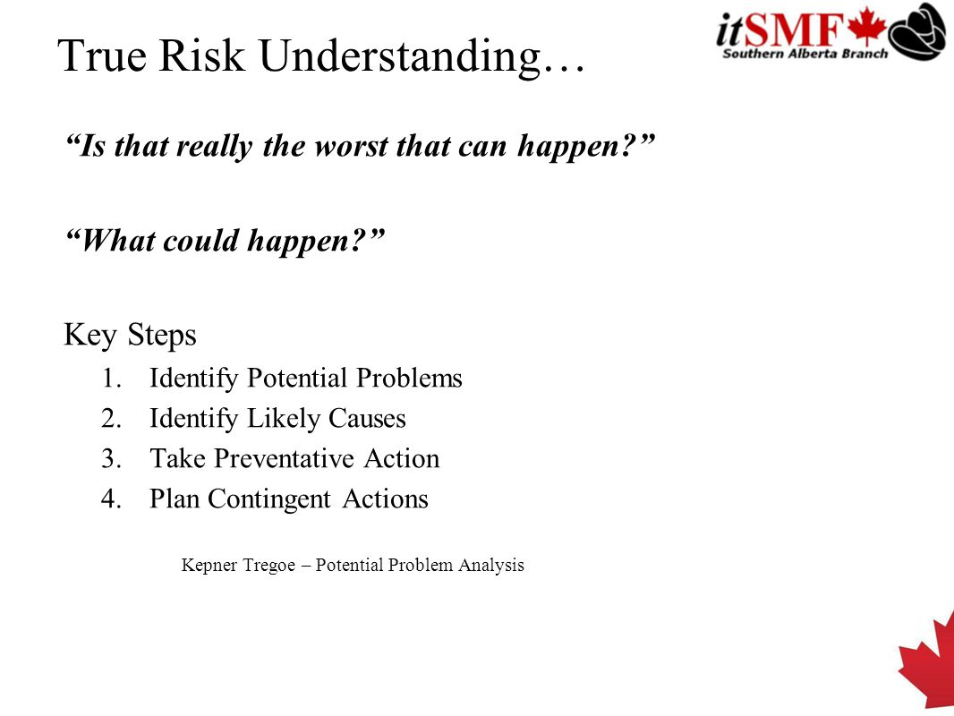 True Risk Understanding… Is that really the worst that can happen What could happen Key Steps 1.Identify Potential Problems 2.Identify Likely Causes 3.Take Preventative Action 4.Plan Contingent Actions Kepner Tregoe – Potential Problem Analysis