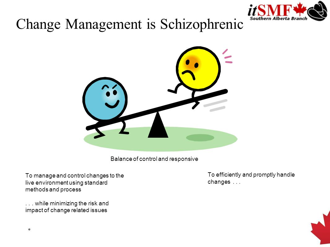 Change Management is Schizophrenic * Balance of control and responsive To manage and control changes to the live environment using standard methods and process...