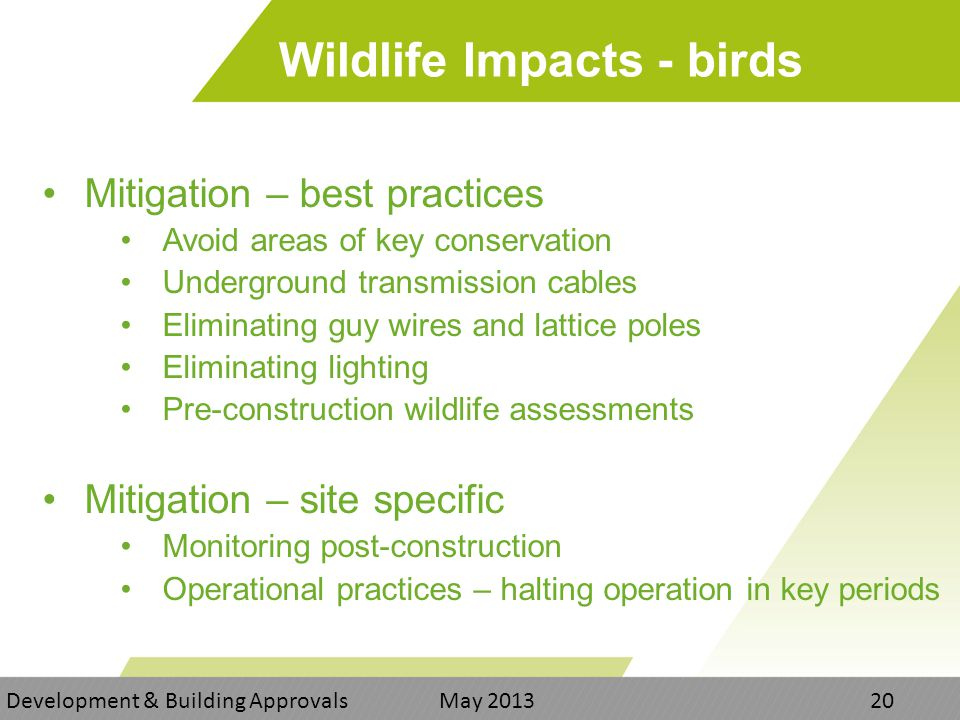 Wildlife Impacts - birds Mitigation – best practices Avoid areas of key conservation Underground transmission cables Eliminating guy wires and lattice poles Eliminating lighting Pre-construction wildlife assessments Mitigation – site specific Monitoring post-construction Operational practices – halting operation in key periods Development & Building Approvals May