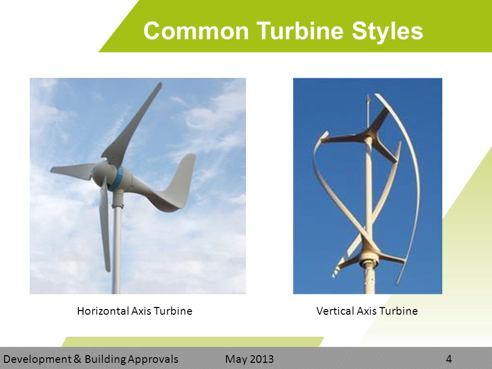Common Turbine Styles Development & Building Approvals May Vertical Axis TurbineHorizontal Axis Turbine