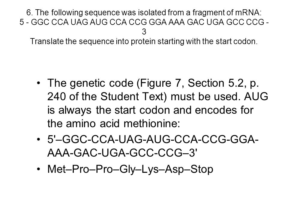 6. The following sequence was isolated from a fragment of mRNA: 5 - GGC CCA UAG AUG CCA CCG GGA AAA GAC UGA GCC CCG - 3 Translate the sequence into pr