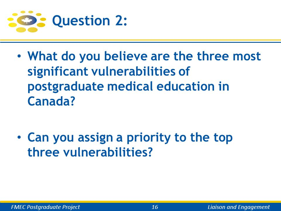 Question 2: What do you believe are the three most significant vulnerabilities of postgraduate medical education in Canada.
