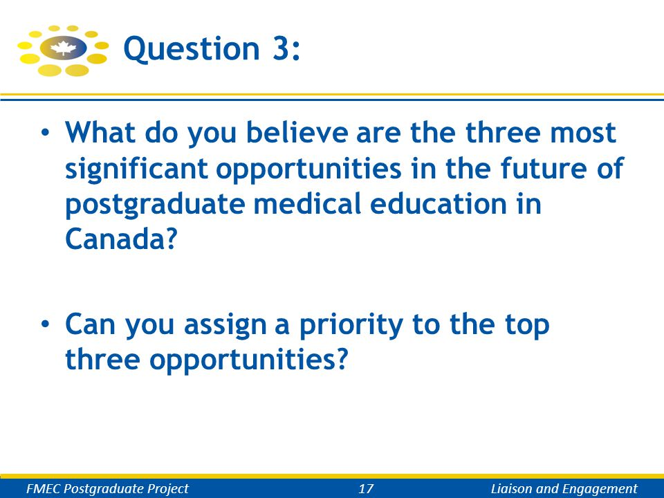 Question 3: What do you believe are the three most significant opportunities in the future of postgraduate medical education in Canada.