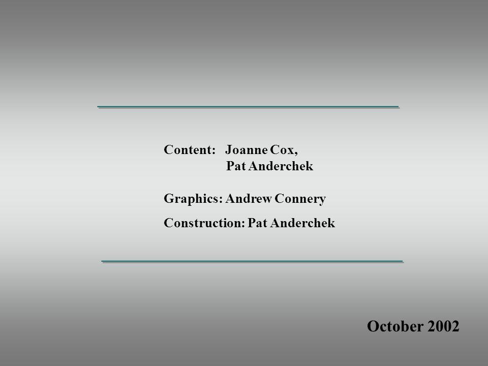 October 2002 Content: Joanne Cox, Pat Anderchek Graphics: Andrew Connery Construction: Pat Anderchek